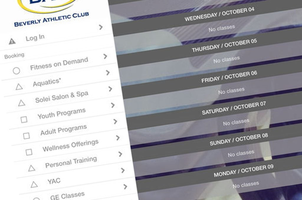 screenshot of the Beverly Athletic Club app screen