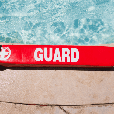 lifeguard safety device on pool deck at brick bodies gym
