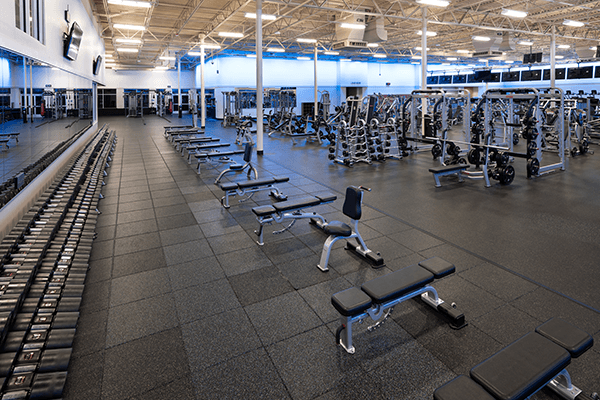 spacious and clean weight lifting area at gym near me